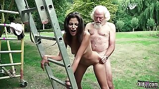sexy video: Girl Edina West Takes A Young Dick In Her Backyard