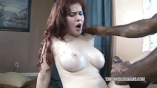 sexy video: Busty housewife becomes horny and deepthroats huge black dick