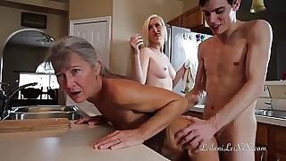 sexy video: Girl gets pounded in uniform yoga chair after threesome