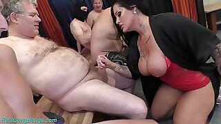 sexy video: Busty milf arrived at the dormitory party for a cumshot scene