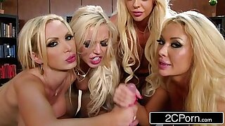 sexy video: Wanking blonde in office gangbang