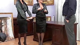 sexy video: Glam office babes cumswap