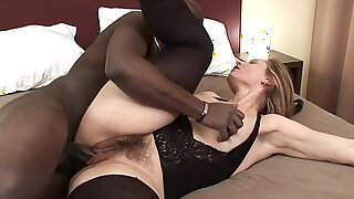sexy video: Big black monstercock for hairy milf gets her pussy being spermed on cum on pussy