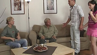 sexy video: Her BF steps out and she fucks his family