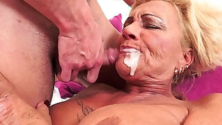 Tattooed gilf fucked by hard sex with love