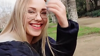 sexy video: Blonde reading in the public park