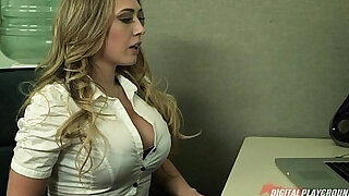 sexy video: Blonde secretary gives her boss her proposal and a quick fuck