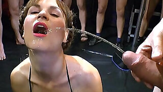 sexy video: Euro brunette Luisa is ready for her big group golden shower