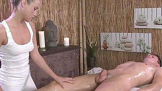 sexy video: Naked guy gets massage and sex with blonde masseuse