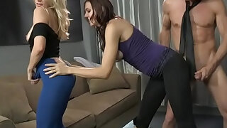 sexy video: Ashley fires and sadie holmes make lance hart cum on their yoga pants