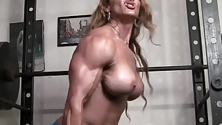 sexy video: Naked Female Bodybuilder Redhead Cougar Topless in Gym