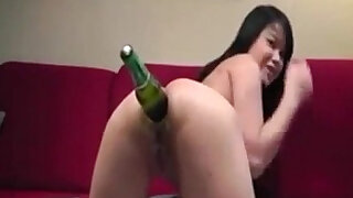 sexy video: Asian Camgirl Inserting Beer Bottle In Her Ass